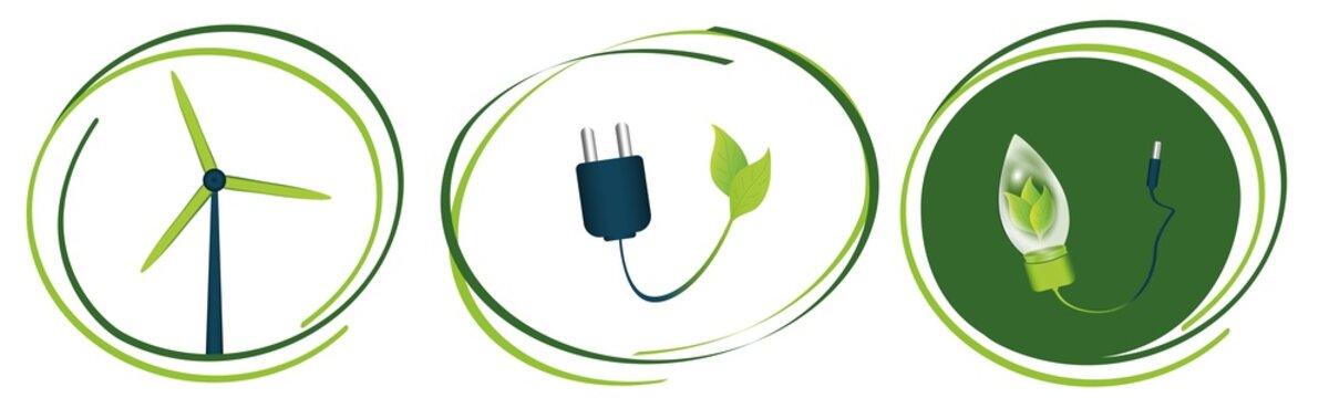 Umwelt Symbole für grünen Strom im Set. Vektor