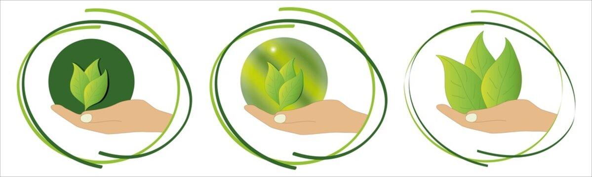 Umwelt Symbole für Nachhaltigkeit im Set. Vektor