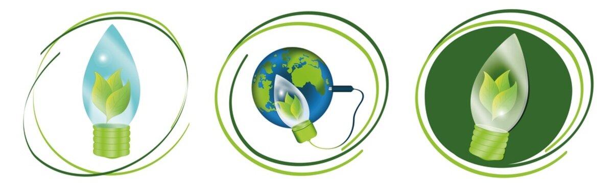 Umwelt Symbole für Umweltfreundliche Energie im Set. Vektor