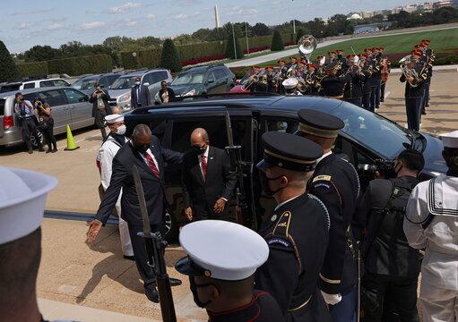 Philippine Defense Secretary Delfin Lorenzana is welcomed to the Pentagon in Washington, U.S.