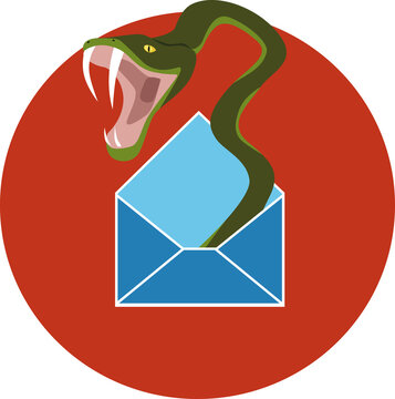 An aggressive poisonous snake coming out of an opened letter envelope or e-mail icon, EPS 8 vector illustration