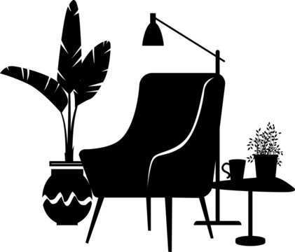 Cozy reading nook consisting of a chair and a coffee table next to a potted plant and lamp, EPS 8 vector illustration, no real product depicted