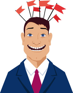 Smiling man in a business suit with red flags covering his head, EPS 8 vector illustration
