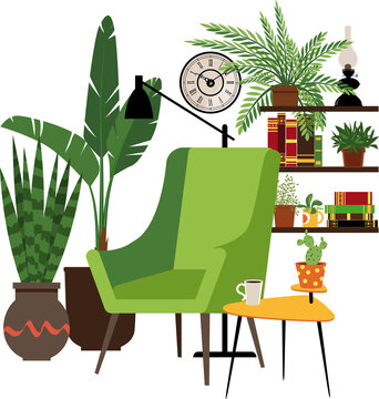 Cozy reading nook consisting of a comfortable green chair and a coffee table next to a book shelves, surrounded by potted plants, EPS 8 vector illustration, no real product depicted