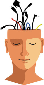 Human head with unplugged computer cables sticking out of it, it's face has a calm relaxed expression, EPS 8 vector illustration