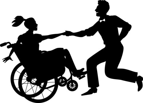 Young handicapped woman in a wheelchair dancing lindy hop or swing with a partner, EPS 8 vector silhouette, no white objects