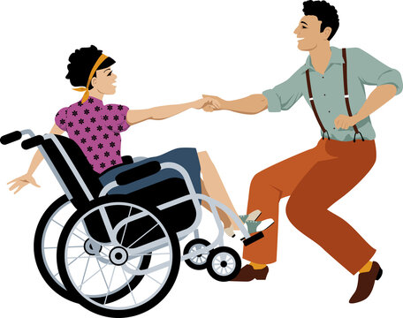 Young handicapped woman in a wheelchair dancing lindy hop or swing with an able-bodied partner, EPS 8 vector illustration