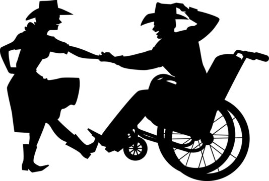 Disabled man in a wheelchair dancing western country dance with a able-body partner, EPS 8 vector silhouette