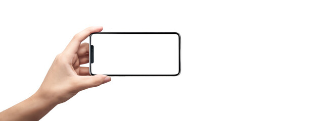 cell phone in horizontal position in the hands of a man with white background - easy modification