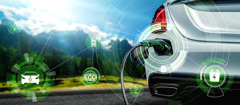 EV charging station for electric car in concept of alternative green energy produced from sustainable resources to supply to charger station in order to reduce CO2 emission .