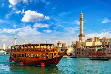 Fototapeta Dhow wooden ship in Dubai obraz