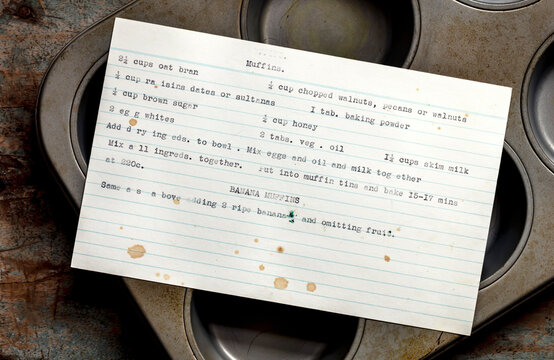Retro Muffins Typed Recipe and Tin