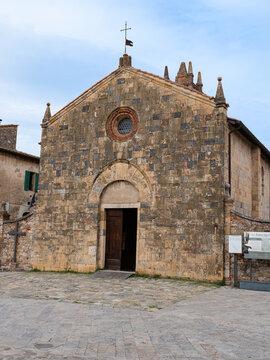 Church of Santa Maria Assunta in Piazza Roma in Monteriggioni, Siena - Italy