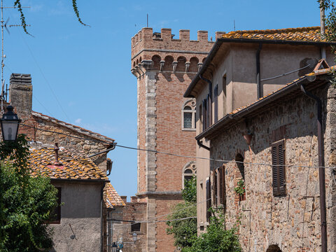 Embattled Tower of the Medieval Castle at the Entrance to the Village of Bolgheri