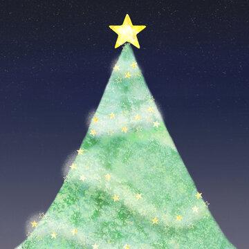 大きな星をのせたクリスマスツリーと夜空の背景