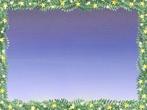 ロマンチックな夜空と星とリーフのフレーム