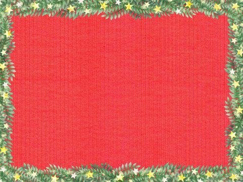 赤いニット柄と星とリーフのフレーム