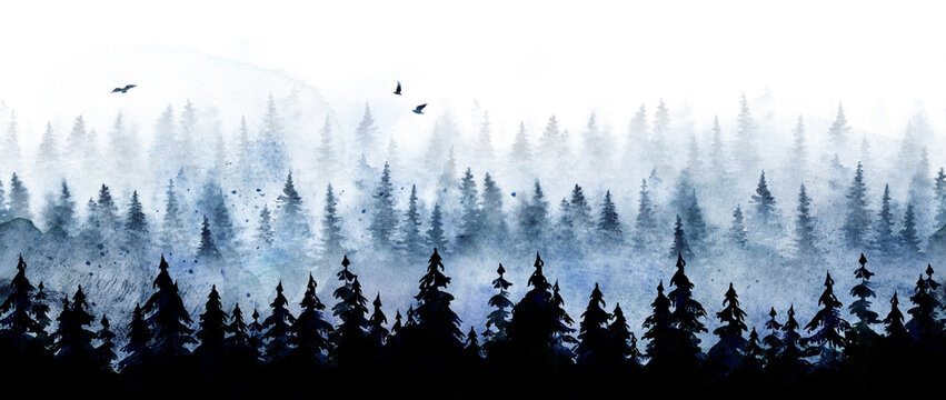 Seamless pattern with winter spruce forest. Watercolor painting isolated on white background.