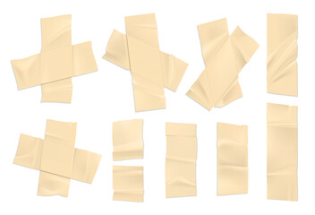 Obraz Realistic adhesive tape. Strips of old paper wit ripped edges, sticky sellotape. Vector set of duct tape isolated on white background - fototapety do salonu