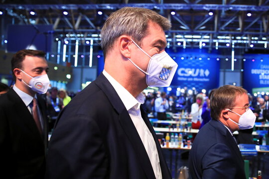 CDU candidate for chancellor Laschet attends CSU party meeting in Nuremberg