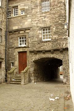 old historic close off Canongate in Edinburgh