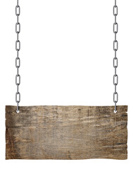 Fototapeta wooden sign chain ropesignboard signpost obraz