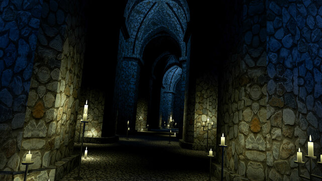 Scary medieval church at night. Endless stone corridor with candles. 3d rendering.
