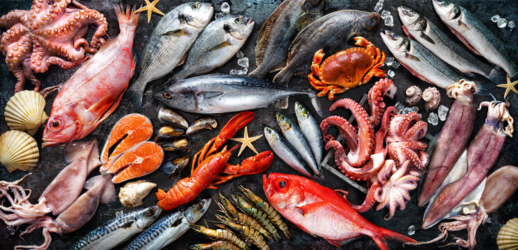 Assortment of fresh fish and seafood