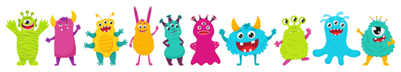 Obraz A set of cute monsters. Bright cartoon characters. Children's vector illustration. Flat style, isolated on a white background. - fototapety do salonu