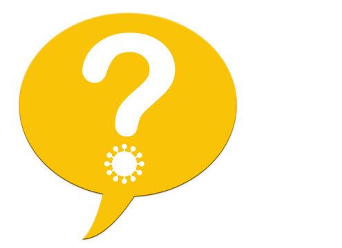 Gelbe Sprechblase mit Fragezeichen, Coronavirus, Illustration
