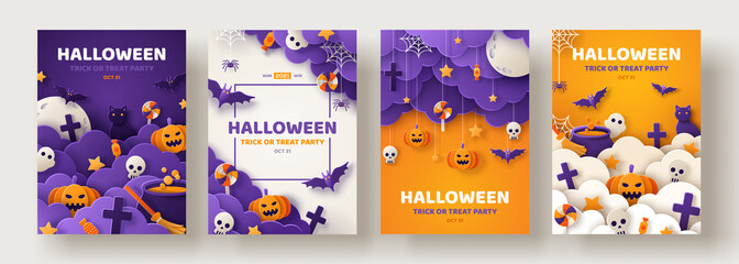Fototapeta Happy Halloween party posters set with night clouds and pumpkins in paper cut style. Vector illustration. Full moon, witch cauldron, spiders web and flying bat. Place for text. Brochure background obraz