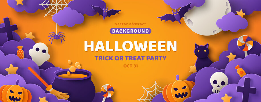 Happy Halloween banner or party invitation background with clouds, bats and pumpkins in paper cut style. Vector illustration. Full moon in orange sky, spiders web and witch cauldron. Place for text