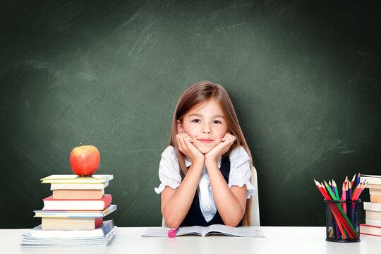 Portrait of modern, happy and cute teen school girl.