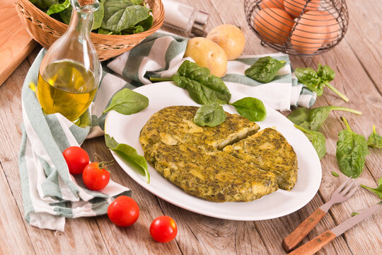 Spanish omelette with spinach.