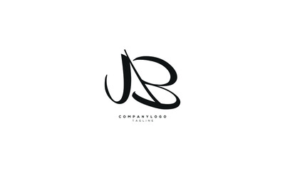 Obraz JAB, AB, Abstract initial monogram letter alphabet logo design - fototapety do salonu