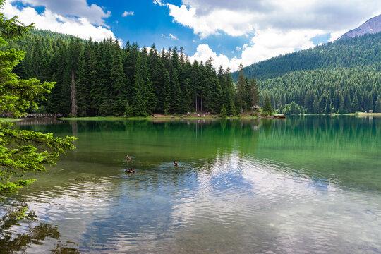 Glacial Black Lake with Meded Peak. Premium tourist attraction of Durmitor National Park.  Montenegro.