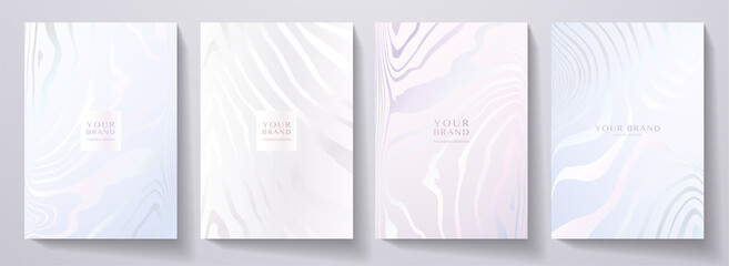 Obraz Modern elegant cover design set. Luxury fashionable background with abstract line pattern in silver, blue, color. Elite premium vector template for menu, brochure, flyer layout, presentation - fototapety do salonu