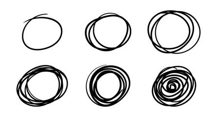 Fototapeta Hand drawn scribble circles, vector logo design elements obraz