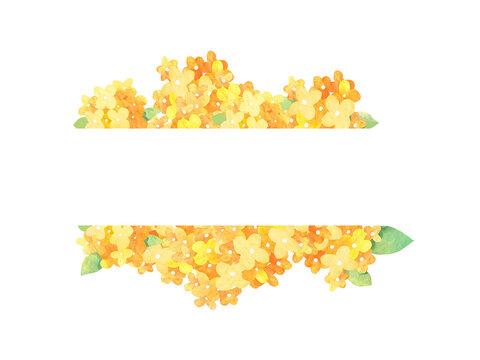 黄色い花背景、フレーム