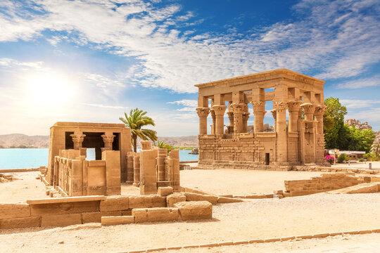 Trajan's Kiosk and Hathor temple on Philae island in the Nile, Aswan, Egypt