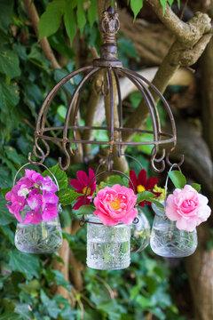 pink Blumen in Glasvasen hängend am Kräutertrockner als Dekoration