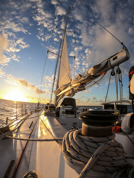 On board a Sailing yacht at dawn