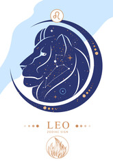 Fototapeta Modern magic witchcraft card with astrology Leo zodiac sign. Zodiac characteristic obraz
