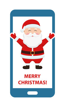 Santa Claus in red christmas hat in smartphone