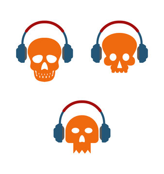 scull with head phones