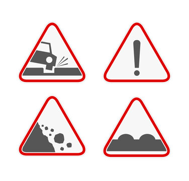Road warning sign icon