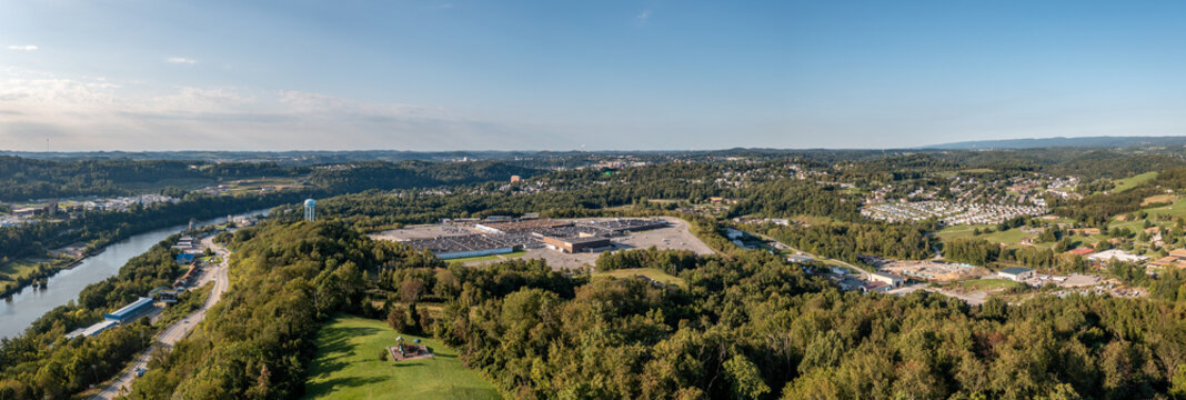 Panoramic aerial view of Morgantown in West Virginia from Dorseys Knob towards downtown. The almost abandoned Morgantown Mall in the foreground