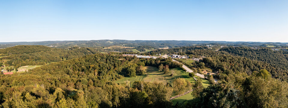Panoramic aerial view of the suburbs of Morgantown in West Virginia from Dorseys Knob