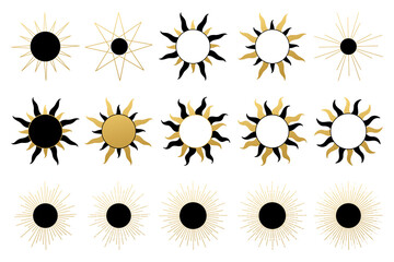 Obraz Various abstract sun. Set of boho sun icons. Golden gradient color. Wicca, alchemy, mystical, magic, celestial, esoteric, sacred, spiritual, occultism inspired concept. Hand drawn vector. - fototapety do salonu