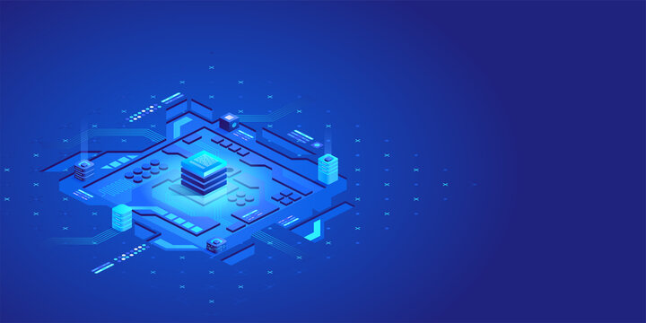 Isometric abstract circuit board futuristic technology processing business background. Idea of global business solution. Vector illustration of interface with geometric shapes